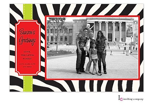 Zebra Ribbon Holiday Flat Photo Card