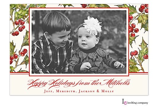 Hollyberry Holiday Flat Photo Card