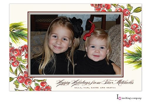 Berry Boughs Holiday Flat Photo Card
