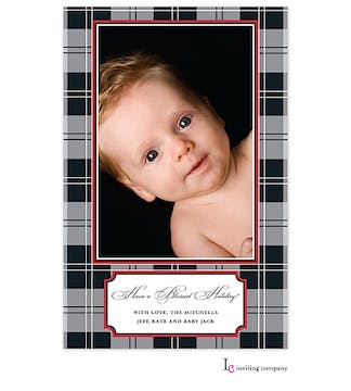 Gray Cashmere Plaid Holiday Flat Photo Card