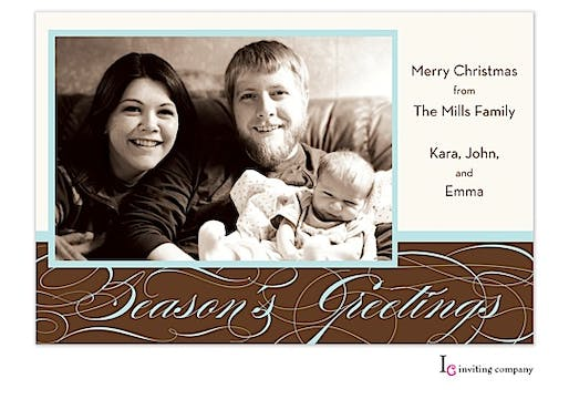 Filagree Seasons Holiday Flat Photo Card