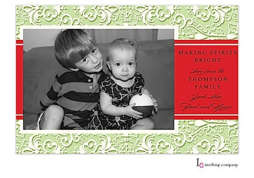Organza Mint Holiday Flat Photo Card