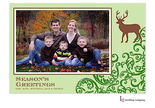 Evergreen Deer Holiday Flat Photo Card