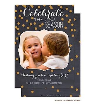 Celebrate the Season Confetti Flat Photo Card