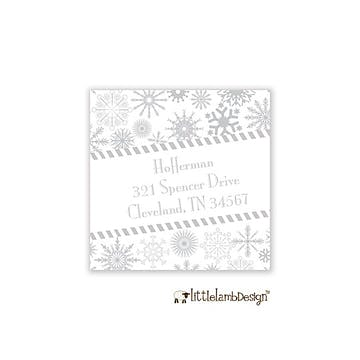 Silver Snowflakes Square Return Address Label