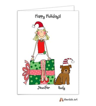 Personalized Character Holiday Folded  Card