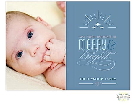 Merry and Bright Holiday Flat Photo Card