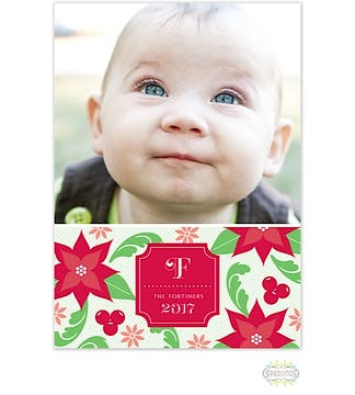 Poinsettia Holiday Flat Photo Card
