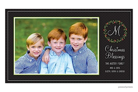 Wreath On Lattice Holiday Flat Photo Card