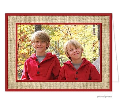 Burlap Holiday Folded Photo Card