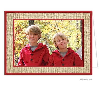 Burlap Holiday Print & Apply Folded Photo Card