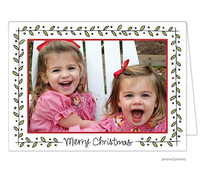 Holly & Berries Holiday Print & Apply Folded Photo Card
