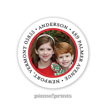 The Family Photo Round Address Label