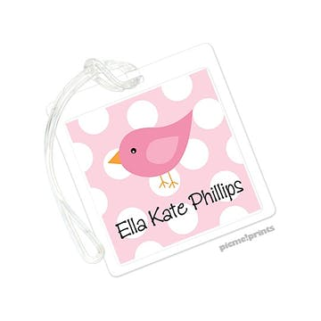 Pink Bird On Dots Pink Square ID Tag