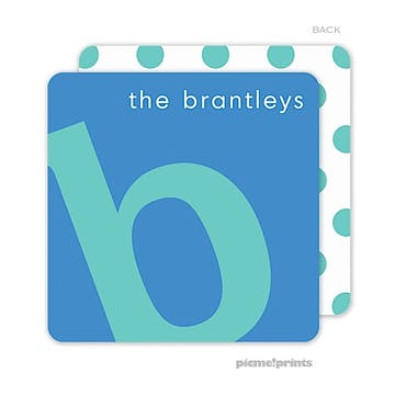 Alphabet Turquoise on Ocean Personalized Coaster