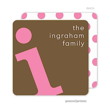 Alphabet Bubblegum on Chocolate Personalized Coaster