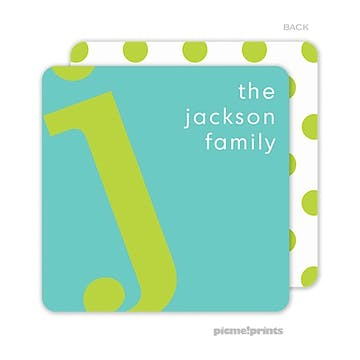 Alphabet Chartreuse on Turquoise Personalized Coaster