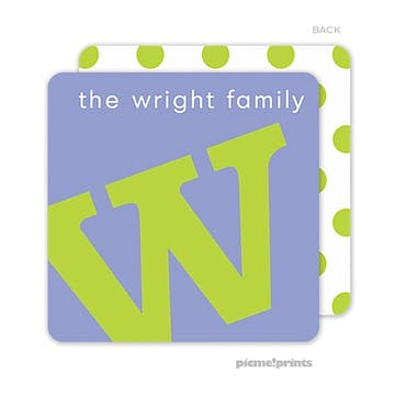 Alphabet Chartreuse on Periwinkle Personalized Coaster