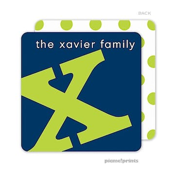 Alphabet Chartreuse on Navy Personalized Coaster