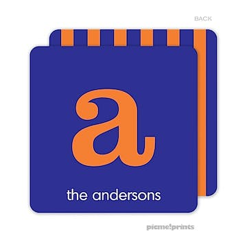 Favorite Colors Blue & Orange Personalized Coaster