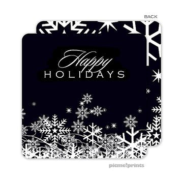 snow flurries black Standard Coaster