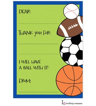 Sports Madness Fill-In Thank You Card