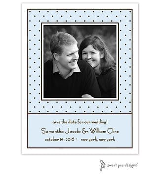 Tiny Dots Blue & Chocolate Flat Photo Save The Date Card