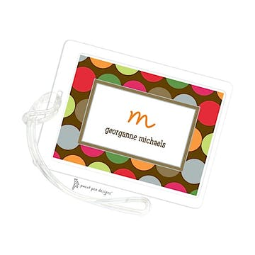 Retro Dots Chocolate ID Tag