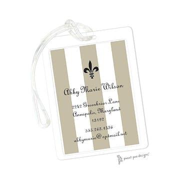 Classic Stripes Taupe ID Tag