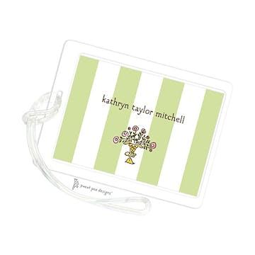 Classic Stripes Celadon ID Tag