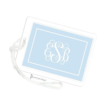 Classic Border White On Blue ID Tag