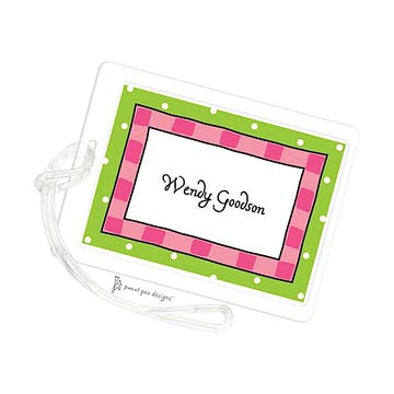 Cool Checks Hot Pink & Lime ID Tag