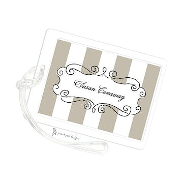 Curly Frame & Stripes Taupe ID Tag