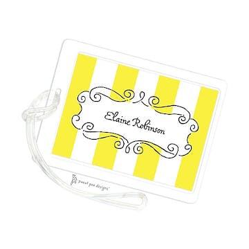 Curly Frame & Stripes Citrine ID Tag