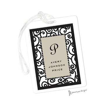 Scrollwork Taupe & Black ID Tag