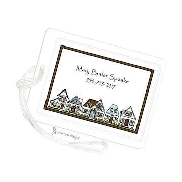 Houses Aqua & Chocolate ID Tag