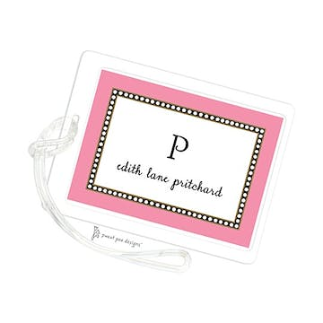 Beaded Border Deep Pink ID Tag