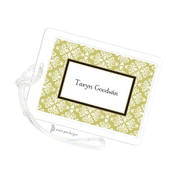 Lace Damask Olive ID Tag