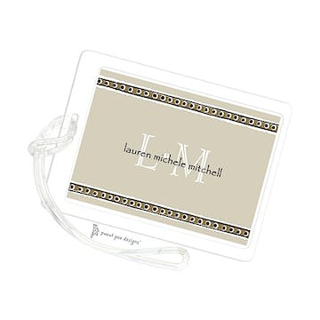 Chocolate Dotted Ribbon On Taupe ID Tag