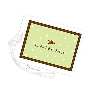 Little Dots Lime & Chocolate ID Tag