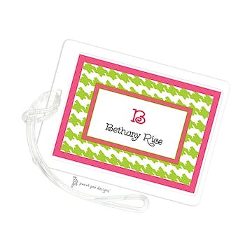 Houndstooth Pink & Lime ID Tag