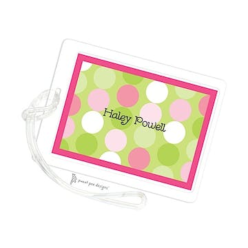 Retro Dots Pink & Lime ID Tag