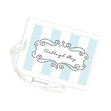 Curly Frame & Stripes Aqua ID Tag