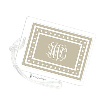 White Dotted Border Taupe ID Tag