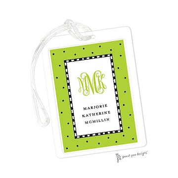 Checks & Dots Lime ID Tag