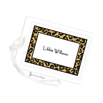 Leopard Border Gold ID Tag