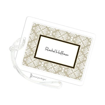 Lace Damask Taupe ID Tag
