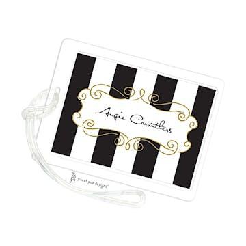 Curly Frame & Stripes Black ID Tag