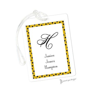 Dotted Edge Bright Gold & Black ID Tag