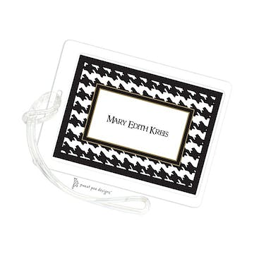 Houndstooth Black & White ID Tag